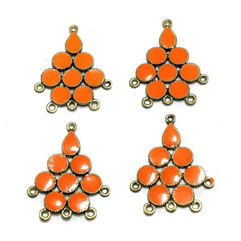 5 Pairs Orange Earring Components 37mm
