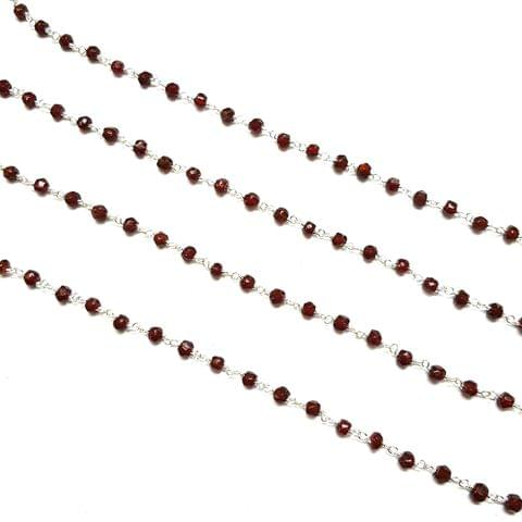 4mm, Maroon Faceted Silver Polish Bead Chain, 3 meter