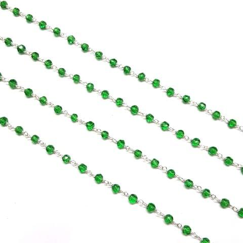 3.5mm, Green Faceted Silver Polish Bead Chain, 3 meter