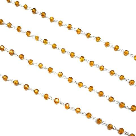 3.5mm, Golden Faceted Silver Polish Bead Chain, 3 meter