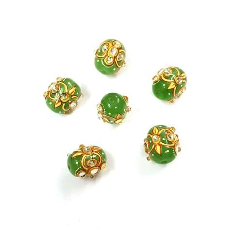 4Pcs, Handpainted Kundan Green Beads, 15x12mm