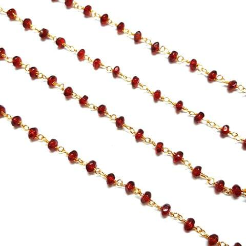 3.5-4mm, Red Faceted Golden Polish Bead Chain, 3 meter