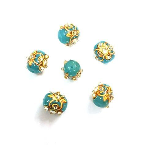 4Pcs, Handpainted Kundan Sky Blue Beads, 15x12mm