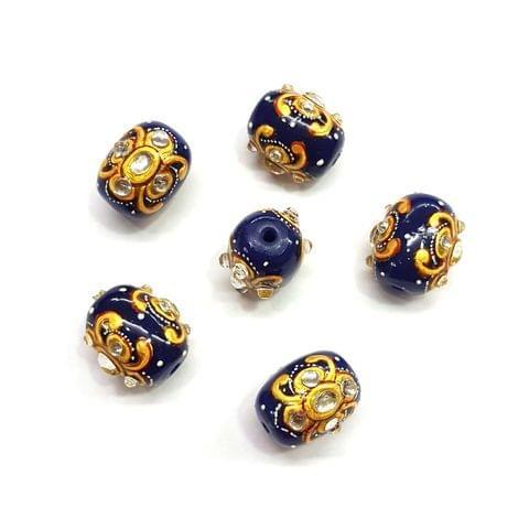 4Pcs, Handpainted Kundan Dark Blue Beads, 15x12mm