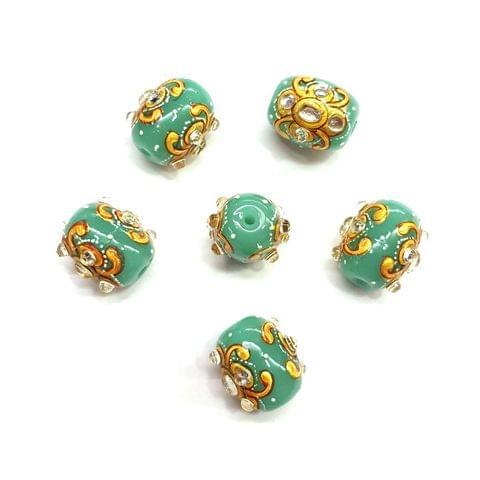 4Pcs, Handpainted Kundan Navy Blue Beads, 15x12mm
