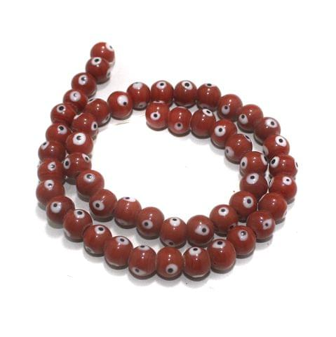 5 strings of Evil Eye Glass Round Beads Red 8mm