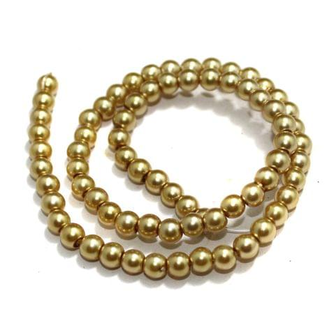 6mm Golden Glass Pearl Beads 1 String
