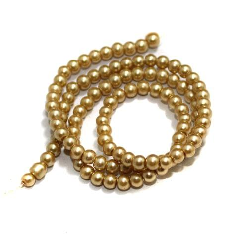 4mm Golden Glass Pearl Beads 1 String