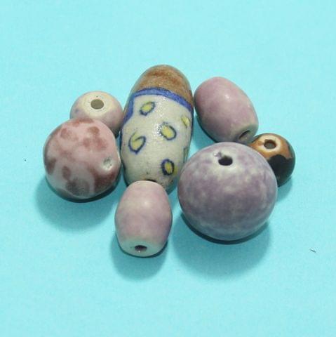 40 Pcs Ceramic Beads Matte Finish Assorted 38-12 mm