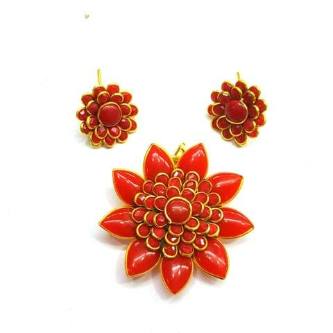 Red Pacchi Pendant, Pendant - 2 inches, Earrings - 0.75 inch