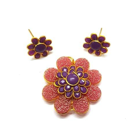 Purple Carving Pacchi Pendant, Pendant - 1.5 inches, Earrings - 0.75 inch