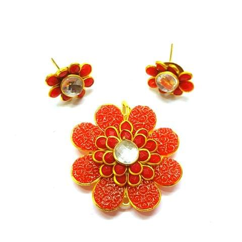 Red Carving Pacchi Pendant, Pendant - 1.5 inches, Earrings - 0.75 inch