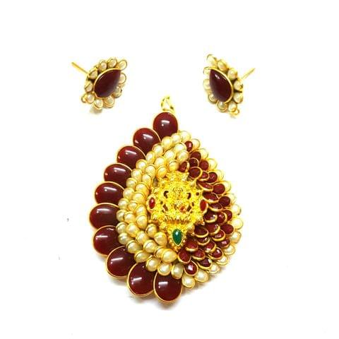 Red Temple Pendant, Pendant - 2.75 inches, Earrings - 1 inch
