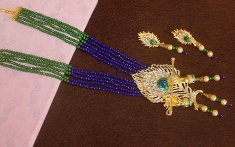 Crystal Beaded Lord Krishna Murli Pankha Kundan Necklace Set