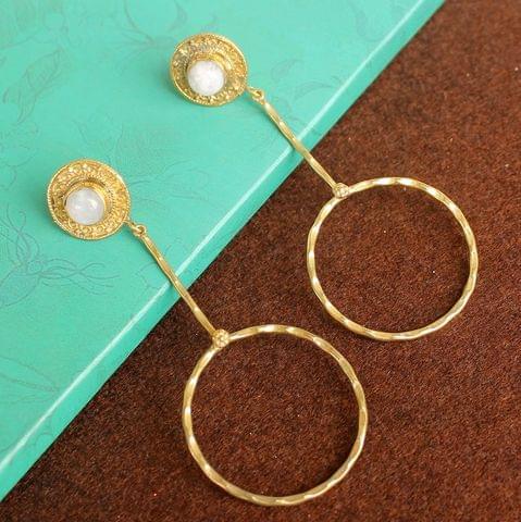 Gold Plated Gemstone Danglers Earring