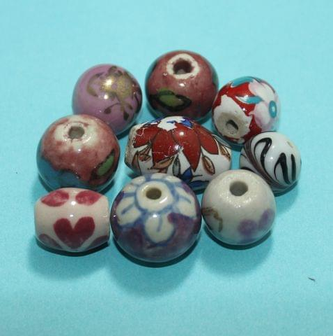 63 Pcs Ceramic Beads Assorted 19-11 mm