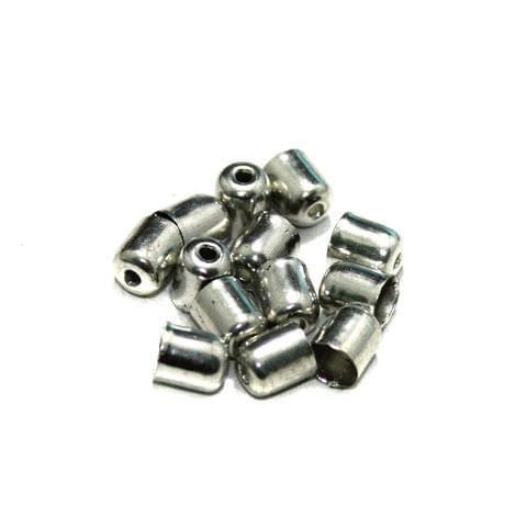 100 Metal Bead Caps Silver 7x6mm