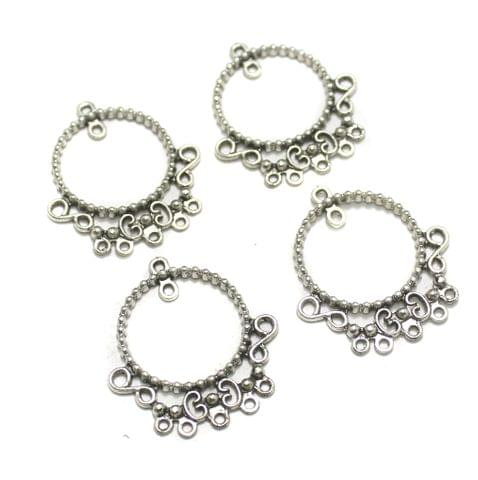 5 Pairs Silver Earring Components 38mm