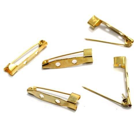 20 Brooch Pin Fittings Golden 30 mm