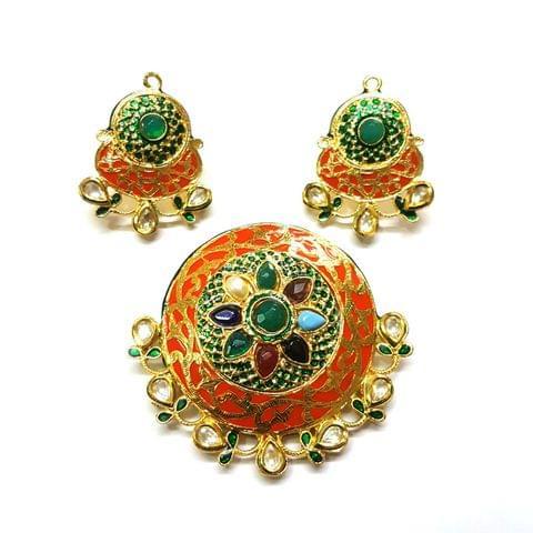 Navratana Pendant Set, Pendant - 2.5 inches, Earrings - 1.75 inches