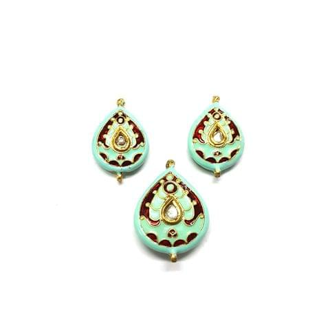 Kundan Meenakari Pendant Set, Pendant - 1.25 inches, Earrings - 1 inch