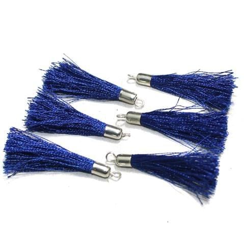 100 Pcs Silk Thread Tassels Blue, Size 2 Inches