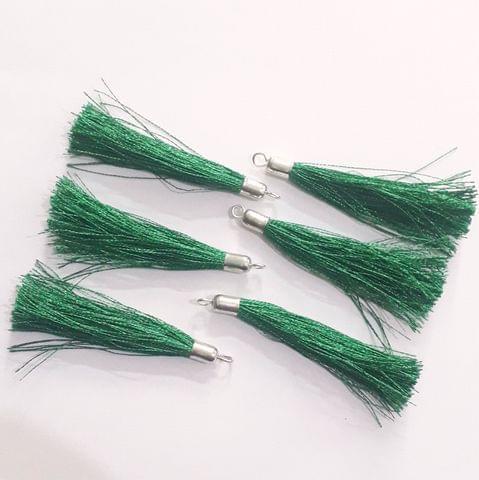 100 Pcs Silk Thread Tassels Green, Size 2 Inches