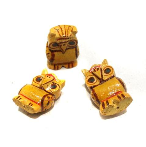 50 Pcs Owl Wooden Beads, Size 1.25 Inches