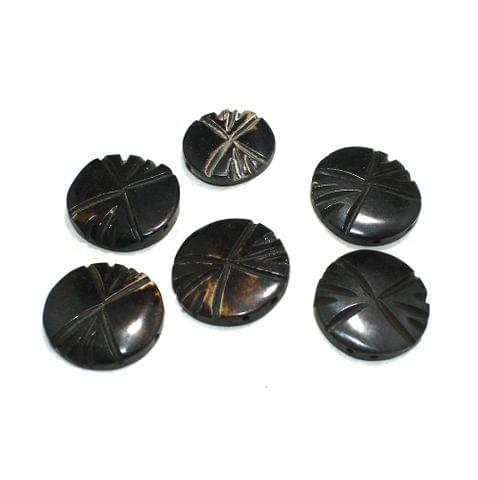 10 Pcs Flat Round Bone Beads 23mm