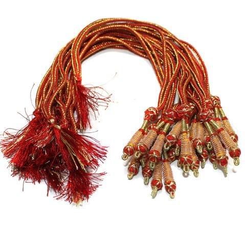 Zari Necklace Backrope Dori Red, Pack Of 12 Pcs