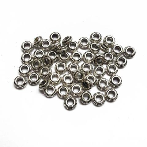 7mm, 30pcs, Oxidised Silver Beads