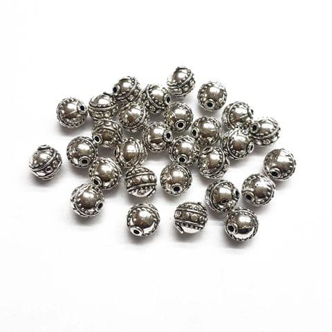 10mm, 15pcs, Oxidised Silver Beads