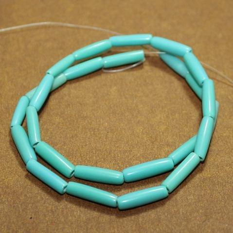 5 Strings Resin Tube Beads Turquoise 22x4 mm