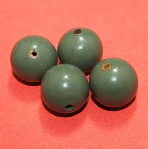 20 Pcs Wooden Round Beads Green 37mm