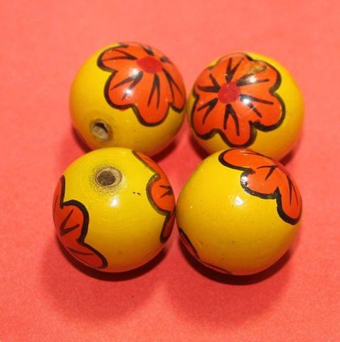 20 Pcs Wooden Round Beads Yellow 1 Inch