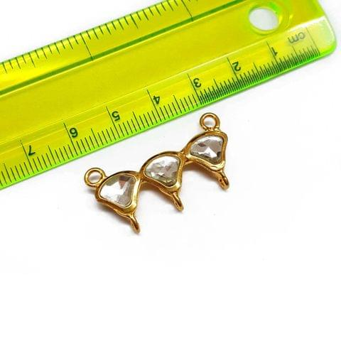2pcs, 32mm, 22K Gold Plated Kundan Connectors, AAA Quality