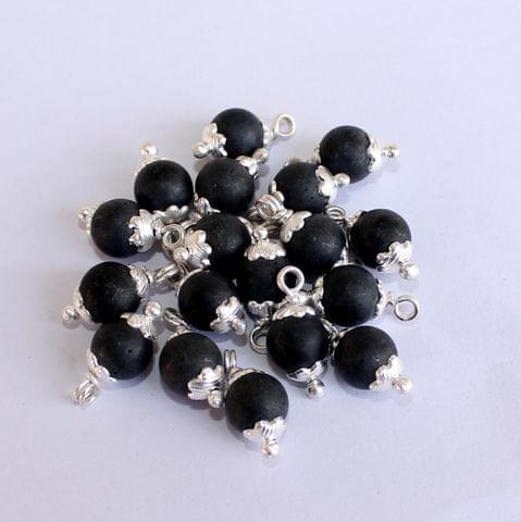 250 Pcs Black Matte Loreal Glass Beads 8mm