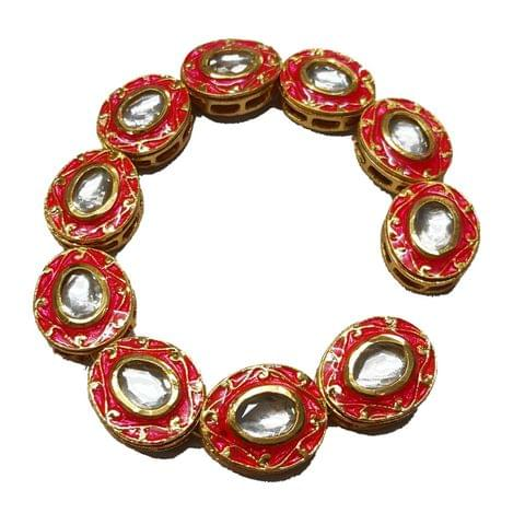 10pcs, 18x21mm Kundan Meenakari Chain