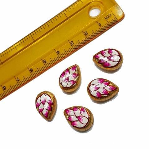5pcs, 12x16mm Golden Handpainted Beads For Rakhi, Jewellery Making etc