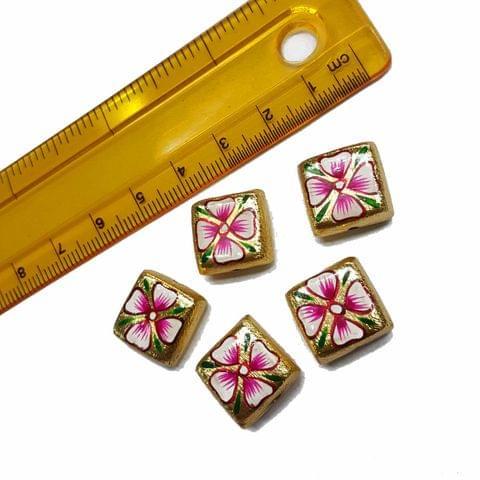 5pcs, 15mm Golden Handpainted Beads For Rakhi, Jewellery Making etc