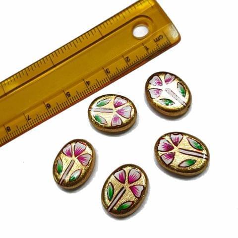 5pcs, 15x20mm Golden Handpainted Beads For Rakhi, Jewellery Making etc