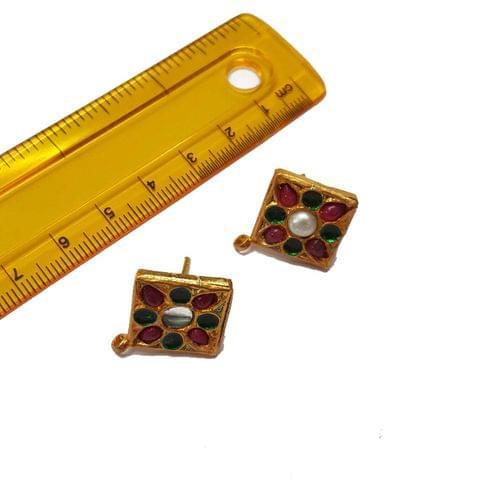 2pcs, 21x24mm, Multi Jadau Tops