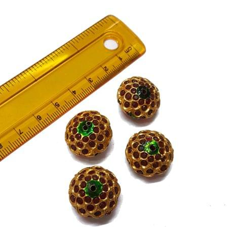 2pcs, 13x20mm, Jadau Beads