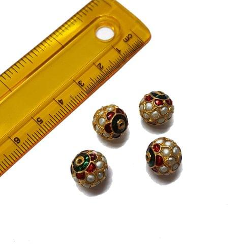 4pcs, 12mm, Pearl Meenakari Jadau Beads