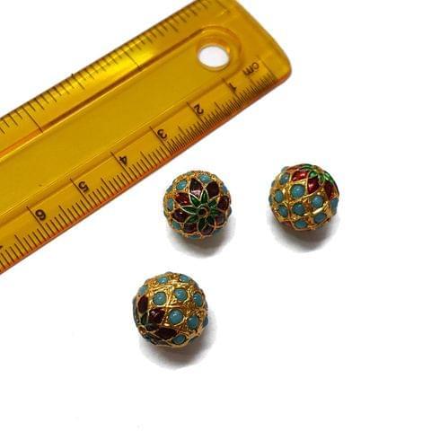 3pcs, 13mm, Turquoise Meenakari Jadau Beads