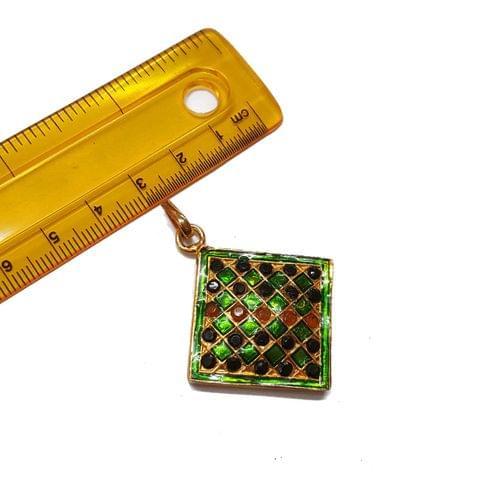 1pc, 36x42mm, Square Jadau Pendant