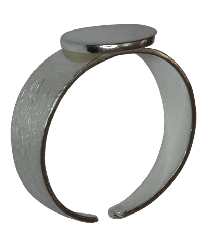 92.5 Sterling Silver Brushed Ring with Disc-10mm