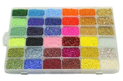 Glass Seed Beads For Jewellery Making, Embroidery & Crafts DIY Kit, size 11/0, Pack Of 36 Colours