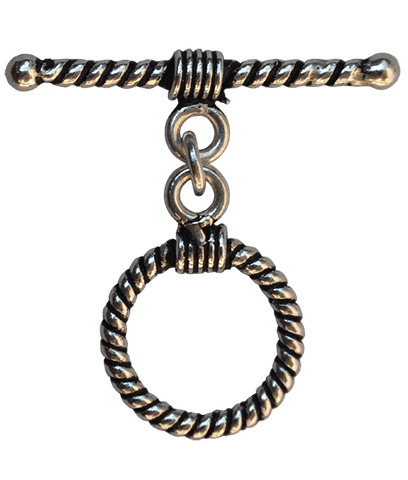 92.5 Sterling Silver 12mm Striped Toggle Clasps