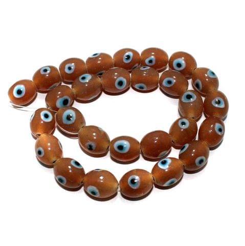 5 string Peach Evil Eye Glass Beads Oval 12x14 mm
